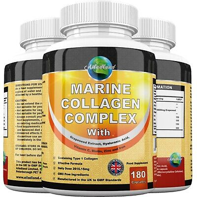 £5.50 • Buy Marine Collagen Complex 2616mg With Hyaluronic Acid & Vitamin C Capsules Tablets