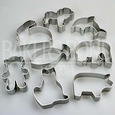 £5.85 • Buy Animal Shapes Set Of 8 Metal Cookie Cutters Dog Cat Rabbit Fish Bear Biscuit