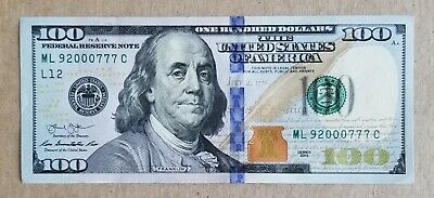 $129 • Buy FANCY 6 IN ROW 3  0 S & 3  7 S $100 ONE HUNDRED DOLLAR Bill Note ML92000777C UNC