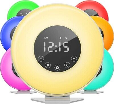 AU42.89 • Buy Wake-up Light Sunrise Alarm Clock LED FM Radio Bedside Sounds Touch Night Lamp