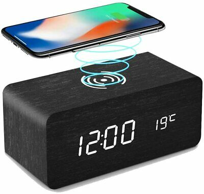 £14.99 • Buy Wireless LED Alarm Clock With Built-in Charger - Wood Effect - Black
