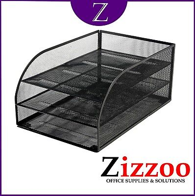 £18.99 • Buy Mesh Letter Tray By Osco With 3 Trays In Black