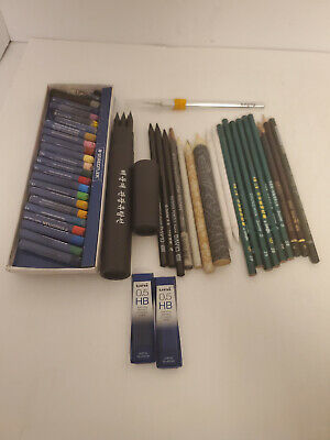 Art Supplies Lot Staedtler Oil Pastels Charcoal Drawing Pencils & MORE! • 36.38£