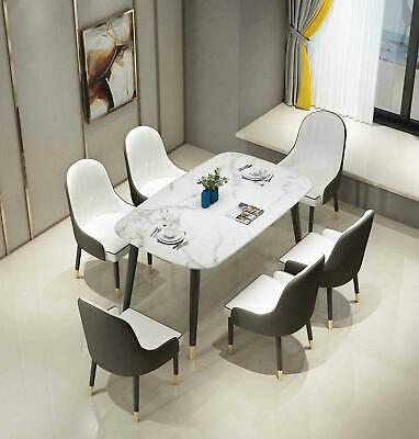 £319.99 • Buy Premium Marble Dining Table And 4/6 Chairs Set 4-seater 6-seater Furniture Set