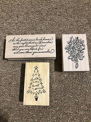 £6 • Buy 3 Christmas Wooden Rubber Stamps - Xmas Tree, Floral Bouquet & Wording/saying