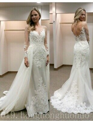 $ CDN175.44 • Buy White/Ivory Lace Mermaid Wedding Dresses Appliques Bridal Gowns Detachable Train