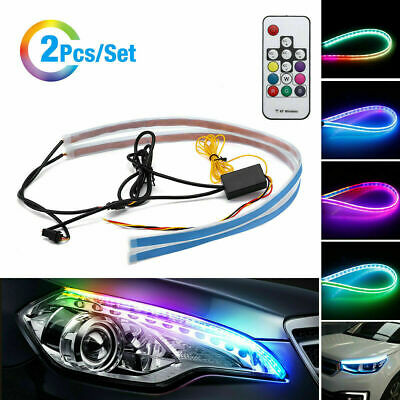 $14.99 • Buy 2 PCS 60cm LED DRL Light Sequential Flexible Turn Signal Strip For Headlight