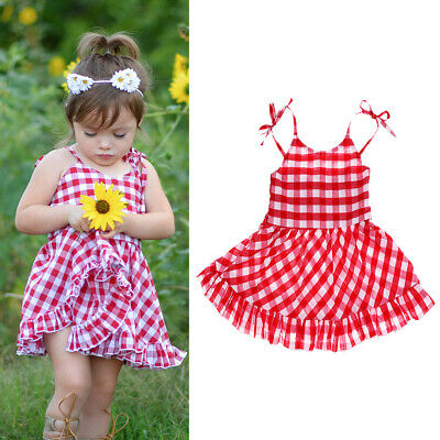 £6.16 • Buy Toddler Baby Kids Girls Retro Ruffle Check Summer Dress Party Sundress Clothes