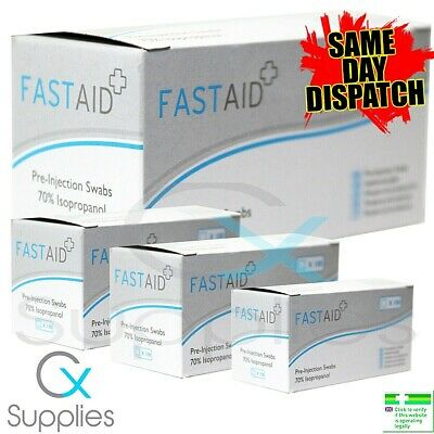 £3.85 • Buy 10 - 100 X 70% IPA ALCOHOL SWABS PRE-INJECTION ⭐FASTAID BRAND⭐NAILS,PIERCINGS