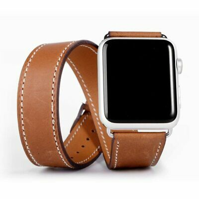 AU30.88 • Buy Double Tour Strap For Apple Watch Band 44mm/40mm 42mm/38mm Genuine Leather