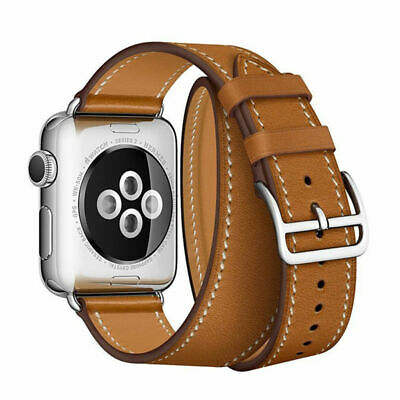 AU30.88 • Buy Strap For Apple Watch Band 44mm/40mm/42mm/38mm Double Tour Genuine Leather