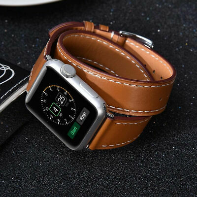 AU29.15 • Buy Double Tour Strap For Apple Watch Band 44mm/40mm/42mm/38mm Genuine Leather