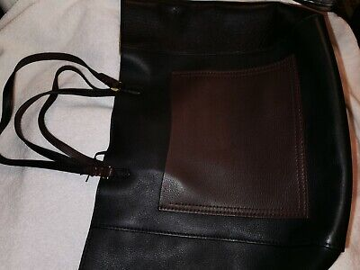 £54.95 • Buy M&S Autograph Genuine Leather Tote Bag Black / Brown