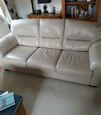 3 Piece Suite - Beige Leather With Storage Footstool. • 65£