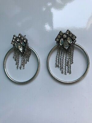 Freedom At Topshop Gemstone And Chain Silver Hoop Earrings • 8£