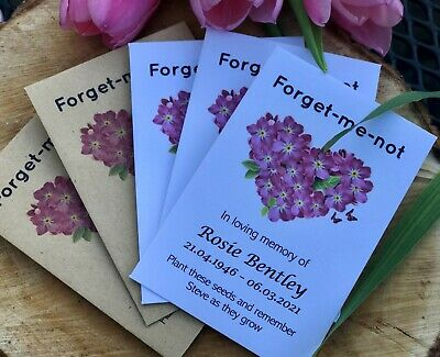 £4.99 • Buy 10 Personalised Forget-Me-Not Seeds Funeral Memorial Memory Remembrance Favours