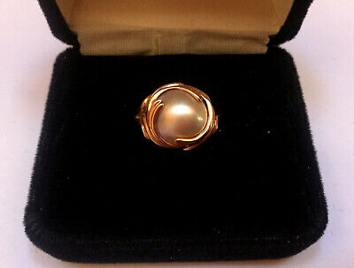 $229.99 • Buy  14k Rose Gold Bezel Set 10 Mm Gray Mabe Pearl Ring Size 6 - Stunning - MUST SEE