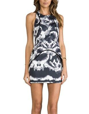 AU19 • Buy FINDERS KEEPERS Black And White Pineapple Print Peplum Dress.Size XS RRP $284.99