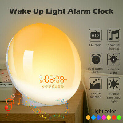 AU54.59 • Buy Wake Up Alarm Clock Sunrise Smart Light 7 Lights Color Sunrise Snooze FM Radio