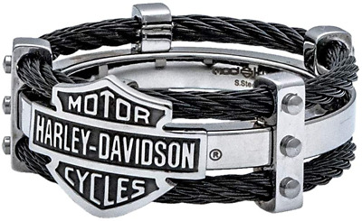 $79.99 • Buy Harley-Davidson By MOD Black & Stainless Steel Men's Cable Ring 251 / HSR0022