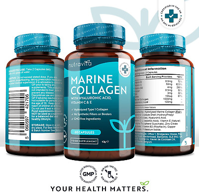 £14.99 • Buy Premium Hydrolysed Marine Collagen 1000mg Superior 60 Capsules Type 1
