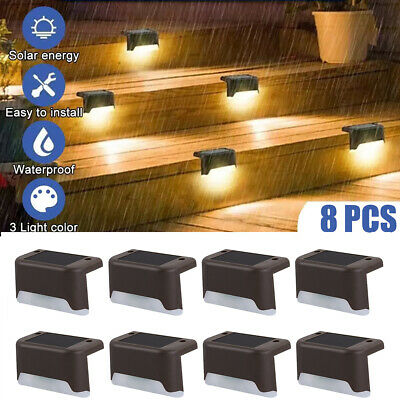 £12.69 • Buy 8 Outdoor Solar LED Deck Lights Path Garden Patio Pathway Stairs Step Fence Lamp