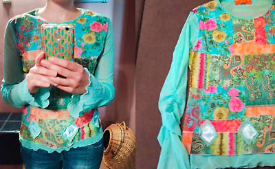 AU45.14 • Buy Mesh Top Paisley Mint Color US Size S/M Womens Flared Sleeve Mint Top
