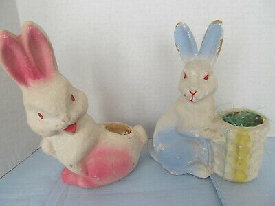 $50 • Buy Vtg Two Bunny  Pulp  Paper Mache Candy Container