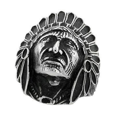 £9.91 • Buy Stainless Steel INDIAN CHIEF HEAD Ring