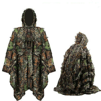 Multipurpose Adults 3D Gillie Leaves Camouflage Cape Suit Camo Hunting Poncho • 16.85£