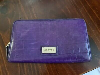 AU45 • Buy Oroton Leather Purple Large Zip Around Wallet.