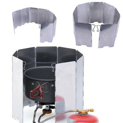 AU11.95 • Buy 8/9 Outdoor Camping BBQ Foldable Burner Windshield Gas Stove Wind Shield Screen