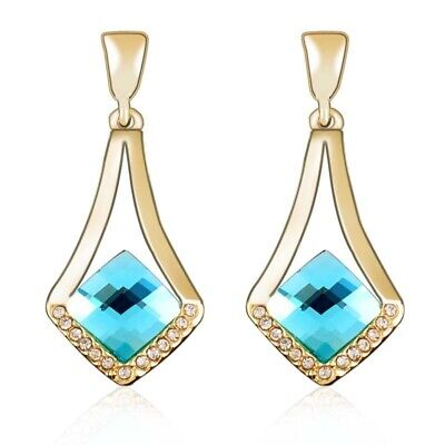 £4.49 • Buy Drop Earrings Set Gold Plated Elegant Jewellery For Women With Crystals Classic