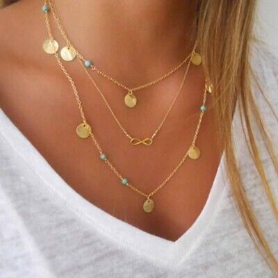AU9.13 • Buy Multi Layer Nicklace Fashion Jewellery Infinity Pendant And Coins For Women