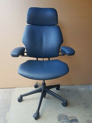 £595 • Buy Humanscale Freedom Task Chair With Headrest Graphite Leather Hide Office