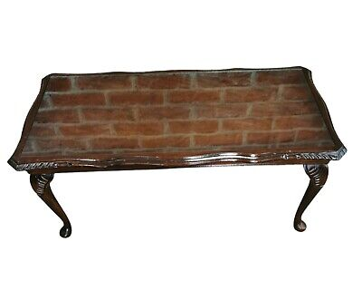 £35 • Buy Dark Wood Scalloped Edge Coffee Table On Cabriole Legs Solid