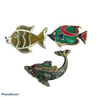 $ CDN31.93 • Buy Vintage Fish Pins 2 Gold Tone Enamel Carp & Bass 1 Silver Tone Striped Glasslike