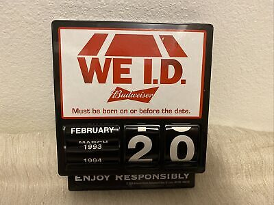 $ CDN124.97 • Buy Budweiser WE ID MANUAL Sign Clock Must Be Born On Or Before This Date NO LIGHTS