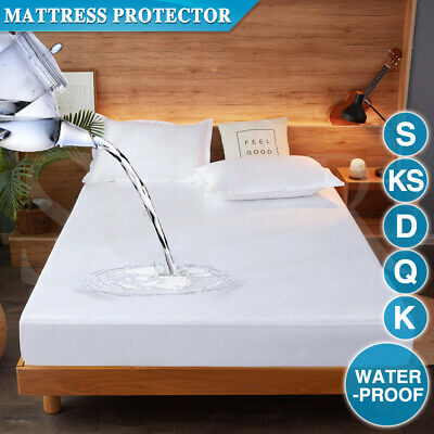 AU19.99 • Buy Cotton Terry Towelling Mattress Protector Waterproof Anti Mite Bed Soft Cover