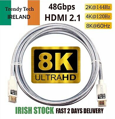AU23.41 • Buy LONG 2M HDMI 2.1 ULTRA HD 8K 4K LEAD SKY-Q PS5 PS4 XBOX X TV CABLE 48Gbps 120Hz