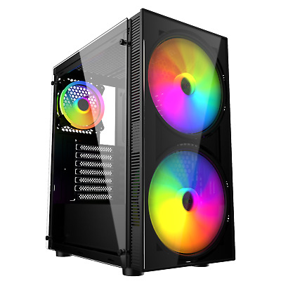 £33.95 • Buy IONZ KZ25 PC Gaming Case Mid Tower M/ATX Tempered Glass Side Panel  Black, ARGB