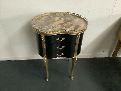 £195 • Buy Lovely Antique French Bedside Table With Marble Top Black & Gold