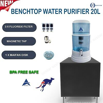 AU125 • Buy 8 Stage Water Filter Purifier Bench Top Dispenser 3 FLUORIDE WATER FILTERS 20L