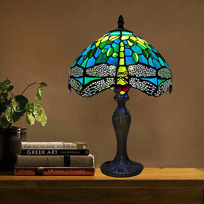 £64.30 • Buy Tiffany Style Table Lamp Antique Handcrafted Art Stained Glass Bedside Desk Lamp