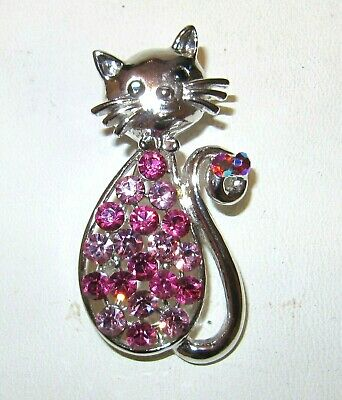 £18.50 • Buy Large Vintage Jewellery French Jet& Pink Topaz Glass Crystals Cat Brooch