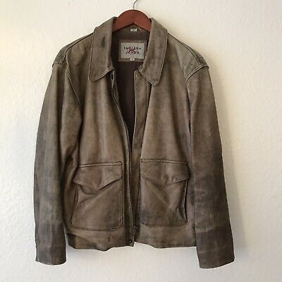 Original Indiana Jones Distressed Brown Leather Jacket Coat Size Small • 94.25£