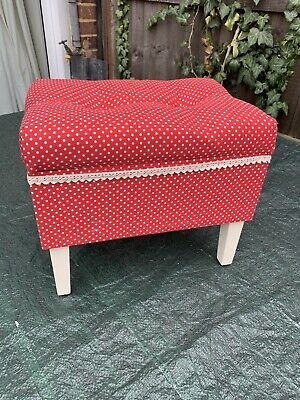 £25 • Buy Vintage Style Sewing Box Foot Stool Red With White Polka Dots Chesterfield