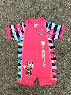 £3.99 • Buy Minnie Mouse Pink Floral UV UPF 40+ Holiday Swim Sun Suit Costume 3-6 Months