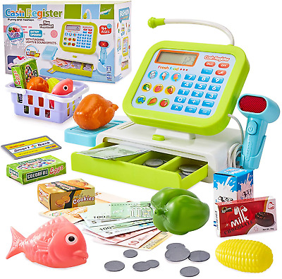 £18.91 • Buy HERSITY Cash Register Toy Role Play Shopping Till Pretend Supermarket Food With