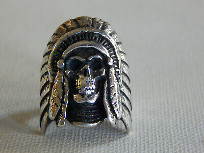 £46.37 • Buy Vintage Large  Figural 1993 Indian Chief Skull Head G&S Ring Sz 8